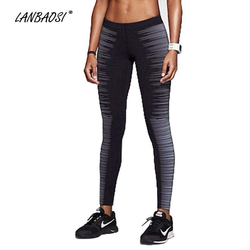 LANBAOSI Womens Running Silm Fit Reflective Night Run Quick-drying Pants Leggings Fitness Gym Jogging Workout Sports Trousers<br>