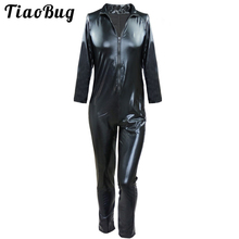 Buy Men Black Sexy PVC Latex Jumpsuit Fetish Open Crotch Zipper Catsuit Faux Leather Bodysuit Play Clothes Game Uniforms