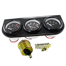 Universal Multi-function 52mm Triple Kit Oil Temp Water Temp Temperature Oil Pressure Sensor Vehicle Car Meter Auto Gauge(China)