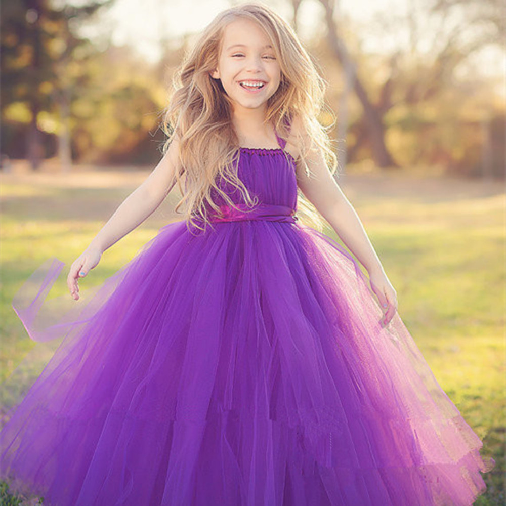 Gorgeous Purple Prom Princess Party Girl Dress Fluffy Tutu Flower Wedding Dresses for girls 10 years<br>