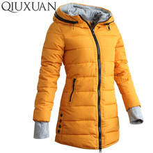 Warm Winter Jackets Women Fashion Down Cotton Parkas Casual Hooded Long Coat Thickening Zipper Slim Fit Plus Size Long Parka