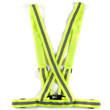Spandex Unisex Adjustable Safety Reflective Bicycle Bike Cycling Yellow Fluro Bike Visability Crossover Vest Top For Safe(China)