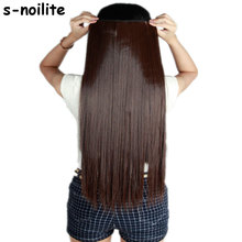 S-noilite Long Women Thick 150G 3/4 Full Head Clip in Hair Extensions Extension One Piece Synthetic Silky Natural hairpieces