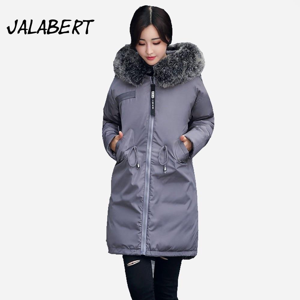 2017 new winter cotton coat women long Hooded big Fur collar thicker loose jacket Female fashion Pleated Adjustable Waist ParkasÎäåæäà è àêñåññóàðû<br><br>