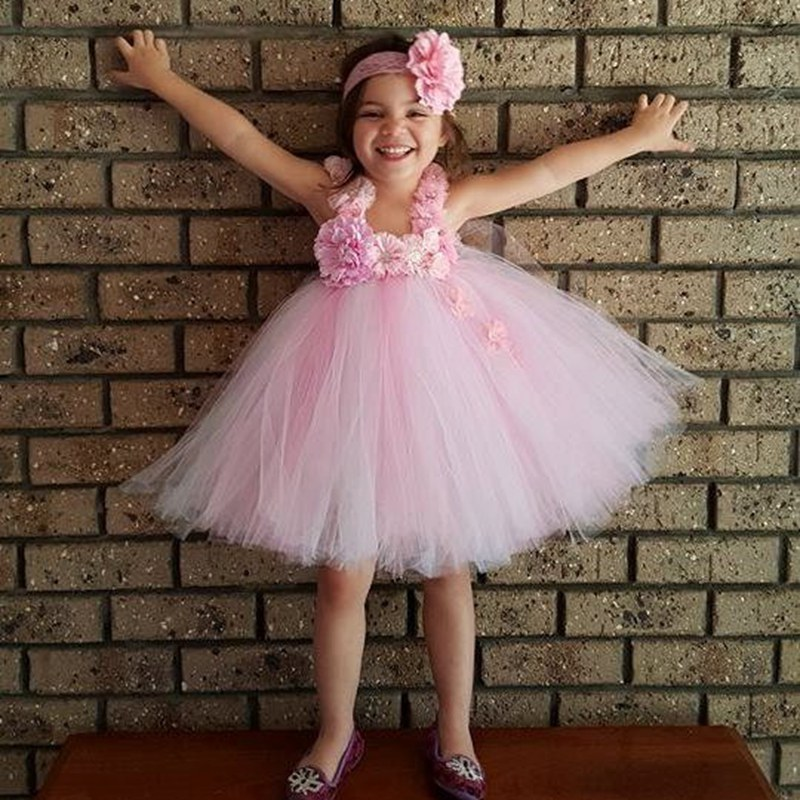 Princess Baby Girls Tutu Dresses For Wedding Floral Appliques Ball Gown 2 Colors Flower Girl Birthday Party Tutu Dress PT62<br><br>Aliexpress