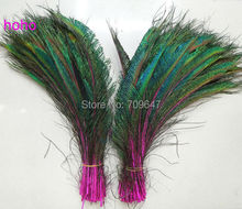 100Pcs/Lot!Rose Peacock Sword Feathers,Hot Pink Peacock Feathers,Fuchsia Craft Floral Feathers,Wedding Decorations,Halloween