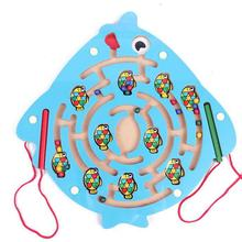 BOHS Ballpoint pen moves the magnetic maze toys wooden educational toys for children blue fish ladybug Maze(China)
