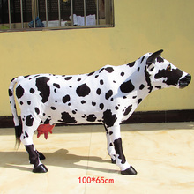 simulation cow model large 100x65cm dairy cow plastic&fur handicraft,home decoration toy gift w5885(China)