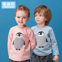 Toddler Sale Special Offer little boy girls Autumn Unisex Casual Cute Sleeves Cotton Penguin baby Tees Kids infant T-shirts(China)