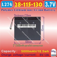 [L274] 3.7V,5000mAH,[28115130] PLIB (polymer lithium ion / Li-ion battery ) for tablet pc;MID;ONDA,CUBE,PIPO,AMPE,AINOL