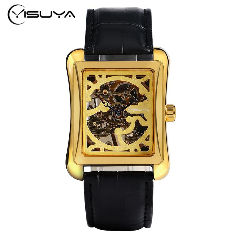 YISUYA Wrist Watch Hand Wind Classic Rectangle Elegant Dress Women Trendy Gift Genuine Leather Band Mechanical Bracelet<br><br>Aliexpress