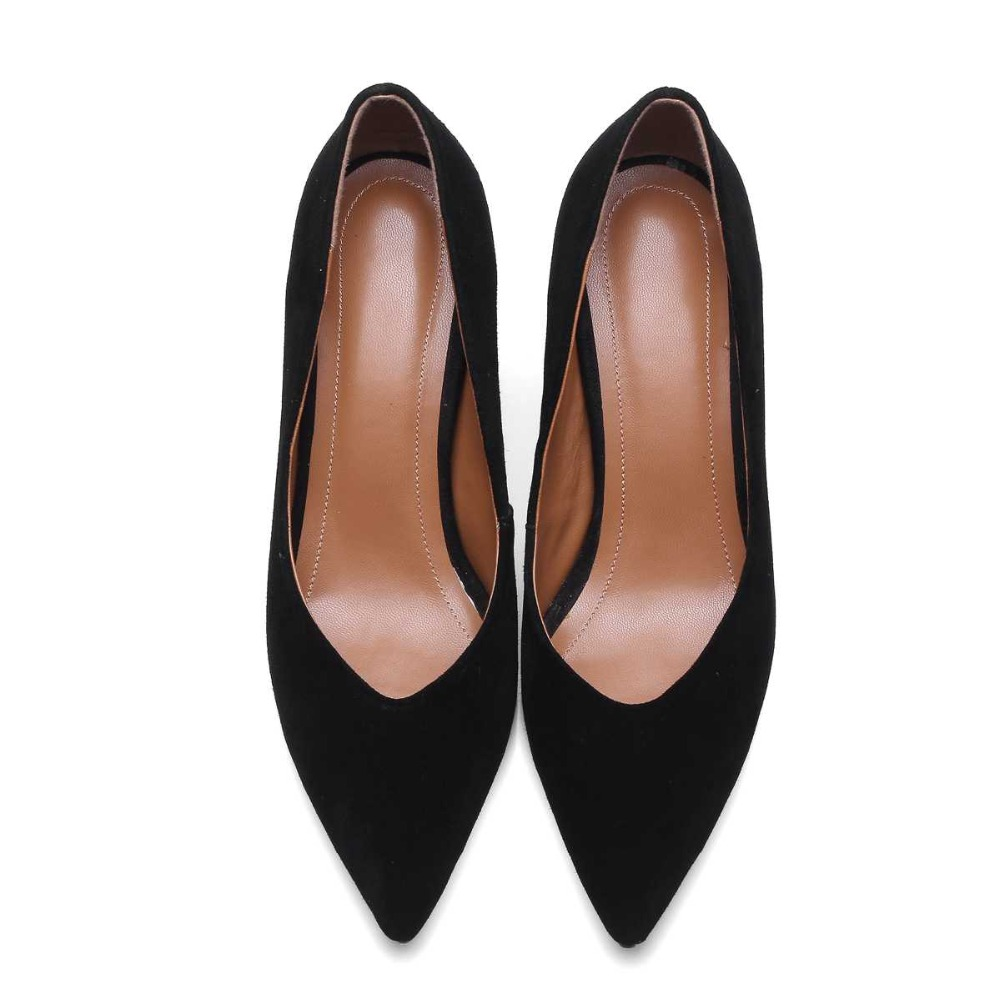 krazing Pot high quality sheep suede women pumps high heels pointed toe slip on shallow simple style office lady work shoes 37<br><br>Aliexpress
