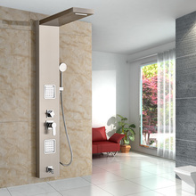 Good Quality Single Handle 5-function Waterfall Rain Shower Panel with Massage System Tub Spout and Handshower Shower Column