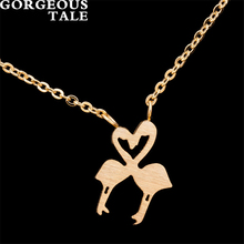 GORGEOUS TALE Punk Animal Flamingo Love Charm Necklace Women's Jewlery Necklace Chains Designer Jewellery Brands Nurse Gifts
