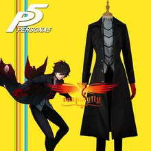 Persona 5 Leading Character Hero Male Outfit Black Jacket Shirt Pants Clothing Uniform Cosplay Costume with Red Gloves W1129(China)