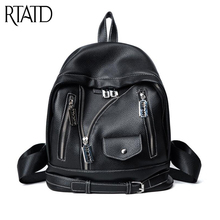 RTATD new style women backpack new design book bags chic lady Female Bag leather School Bags C001