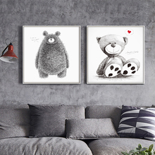 Nordic Minimalist Black White Animal Kawaii Bear Art Print Poster Abstract Image Wall of Canvas Painting No Frame Kids Room Deco
