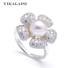 YIKALAISI 2017 new Pearl Ring Jewelry Sunflower Ring Freshwater Pearl Wedding Rings 925 Sterling Silver jewelry Rings For Women