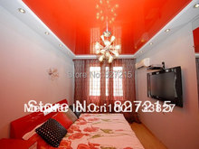 Red Glossy Ceiling Film in Study Room---PVC Stretch Ceilings in a  Construction Materials and Ceiling Materials
