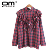 OMCHION New Arrival Autumn Women Blouses 2017 Loose Long Sleeve Plaid Ruffles Tops Spliced Casual Female Drop Ship Shirt LM48(China)