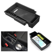 Black Car Central Armrest Storage Box Storage Tray For Audi Q3 2012 2013 2014 2015 2016(China)