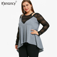 Kenancy 5XL Plus Size Gray Sexy PU Leather Mesh Insert Dip Hem Women Tops Long Sleeve Cut Out Color Block Women Tshirt Slim(China)