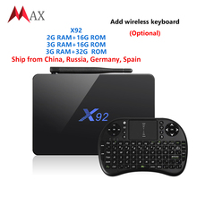 Newest Original X92 2GB/3GB 16/32GB Smart TV BOX Android 6.0 Amlogic S912 KD 16.1 5G Wifi 4K BT Media Player Set Top Box PK X96