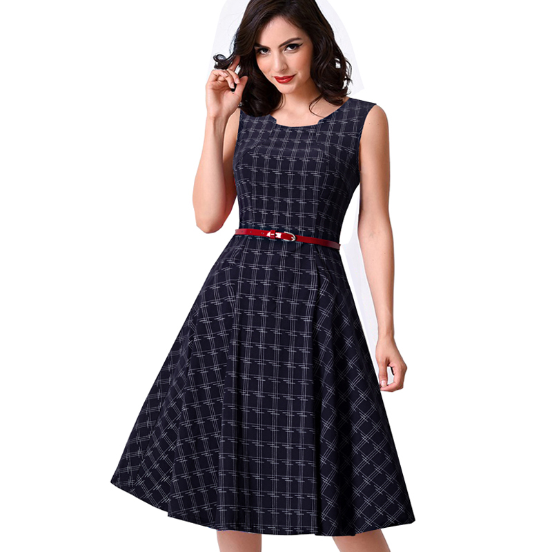 Women Vintage Tank Sleeveless Classic Plaid Swing A-line Dark Blue Dresses Elegant Casual Summer Holiday Dress A011