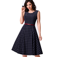 Buy Women Vintage Tank Sleeveless Classic Plaid Swing A-line Dark Blue Dresses Elegant Casual Summer Holiday Dress A011 for $19.94 in AliExpress store