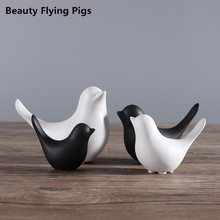 Cute animal ceramics figurines white and black bird figure statues ornaments handmade modern decorative crafts home decor(China)