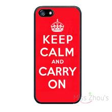 For iphone 4/4s 5/5s 5c SE 6/6s plus ipod touch 4/5/6 back skins mobile cellphone cases cover Keep Calm and Carry On red(China)