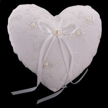 New 20 x 20cm Wedding Party Lace Embroidery Flower Ribbon Ring Pillow Ring Bearer Cushion for Wedding Party Decoration Accessory(China)