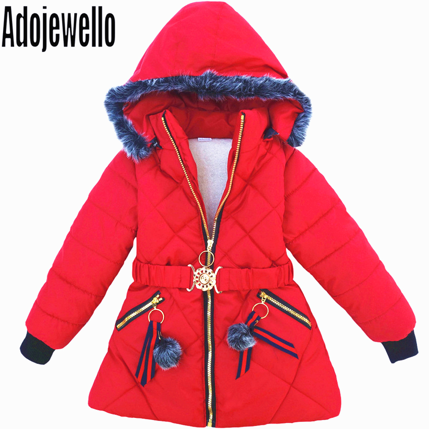 2018 Baby Girls Clothes Children Winter Thick Warm Slim Waistband Girl Cotton Down Jacket CoatsÎäåæäà è àêñåññóàðû<br><br>