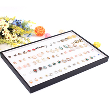 High Quality 176 Holes Ring Display Tray Ear Stud Holder Plate Jewelry Displays Ring Necklace Stand Rack Box Earring Case Plate