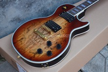 Electric guitar Hot Sale Les LP Map panel transparent brown Paul Custom Electric Guitar 6 Strings Guitars(China)