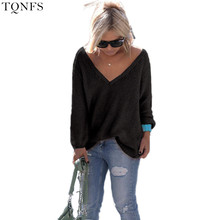 TQNFS Fashion Sweater Women Winter V Neck Loose Knitted Sweater Long Sleeve Solid Top Women Autumn Female Sweater Sueter Mujer