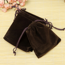 Wholesale 7x9cm Drawstring Coffee Velvet Bags Pouches Jewelry Christmas Valentines Gift Bags 50pcs/lot Free Shipping