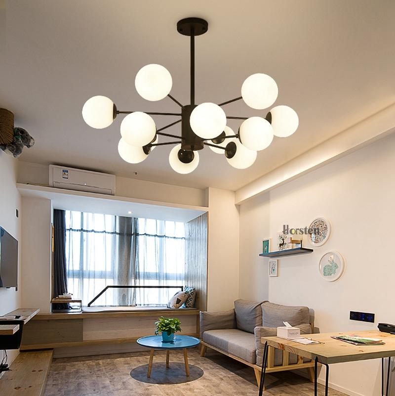 Horsten Nordic Creative Magic Bean Pendant Lights 6812 Heads Glass Ball Pendant Lamp For Living Dining Room Cafe Restaurant E27 (3)