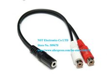 Free shipping/10pcs/ High Quality TWO RCA Female to stereo 3.5mm Female Y splitter cable New