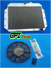 3 Core Aluminum Radiator & Fan for 1949-1954 Chevy Sedan/Coupe V8 Conversion(China)