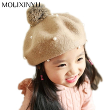 Wool Pearl Baby Beret Baby Hat Cap For Girls Cap For Children Winter Hat Kid Beanies Baby Accessories Drop Shipping(China)