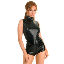 Buy Black PVC Bodysuit Cat Women Sexy Front Crotch Zipper Faux Leather Latex Catsuit Erotic Wet Look Bodycon Punk Fetish Lingerie