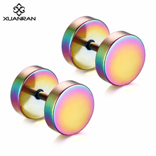 XUANRAN Dumbbell Titanium Steel Stud Earrings High Quality Ear Jewelry Five Color High Polished Rock Pop Earrings Men's