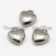 304 Stainless Steel Heart Charms, Stainless Steel Color, 11x10x6mm, Hole: 1mm