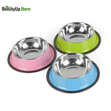 3 Colors Stainless Steel Dog Bowls Lovely Pet Dry Food Water Drinking Dishes Feeder For Cat Puppy Dog Supplies 3 Sizes(China)
