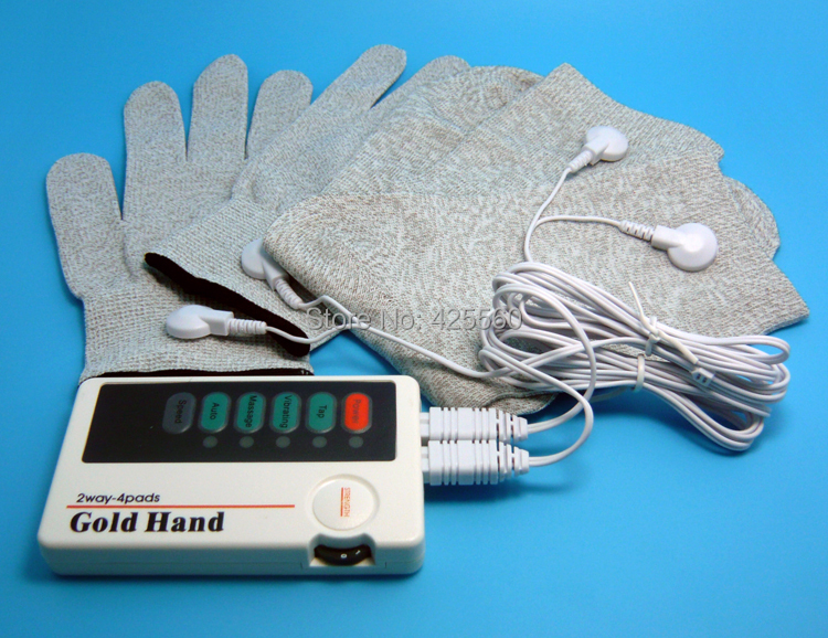 Dual TENS Machine Digital Electric Massager With Conductive Massage Gloves &amp; Socks &amp; 2 Pair Electrodes Pads<br><br>Aliexpress