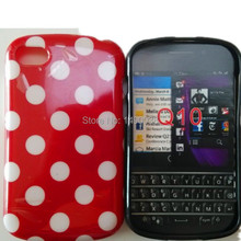 Hot Lovely TPU Polka Dots Style Back Skin Cover Case for Blackberry BB Q10 Soft Phone Case Free
