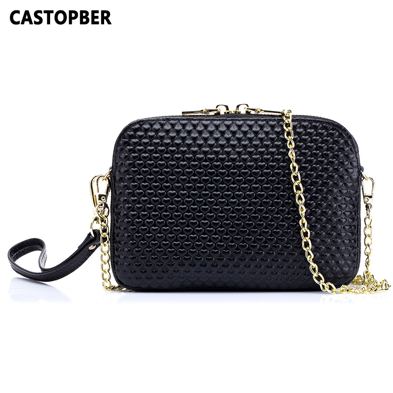 Women Mini Chain Bag Cute Mini Style Fashion Cowhide Genuine Leather Womens New Messenger Bags Crossbody Heart Embossed Famous<br>