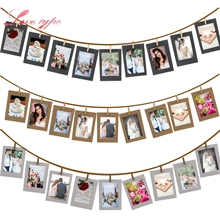 10PCS/Lot DIY Photo Frame Wooden Clip Paper Picture Holder For Wedding Baby Shower Birthday Party Photo Booth Props Decoration(China)