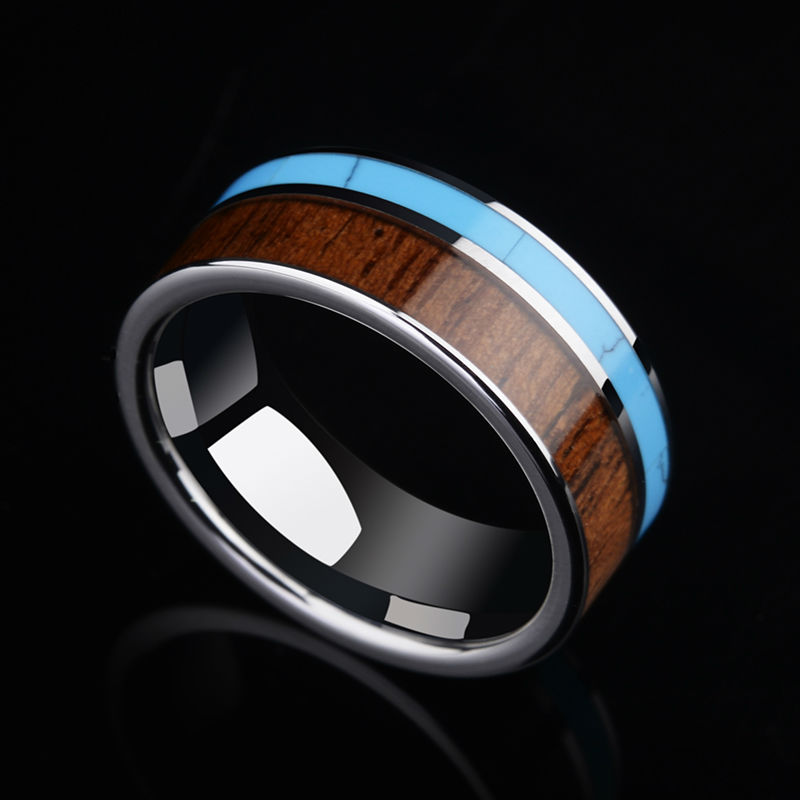 2017 Trendy 8mm Width Tungsten Carbide Band Ring for Man Bridegroom High Polished Inlay Koa Wood and Blue Stone Size 7-11